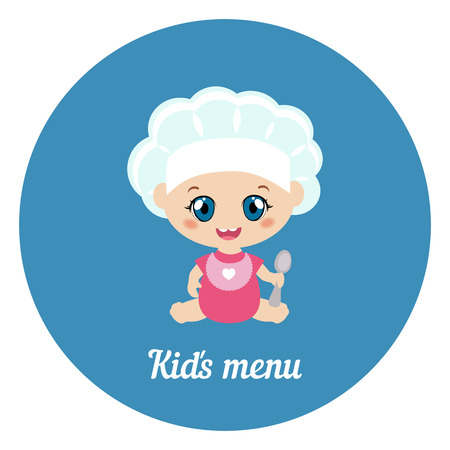 Happy cartoon baby chef with spoon on blue background. Иллюстрация