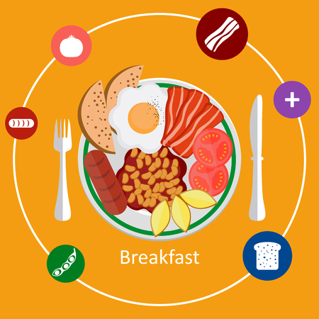 mealtime: Flat design illustration concepts for American breakfast, breakfast time. Illustration