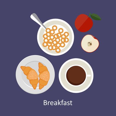 mealtime: Flat design illustration concepts for French breakfast, breakfast time. Illustration