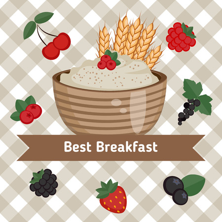 oats: Healthy breakfast concept. Vector colorful illustration with oatmeal and berries on checkered background.