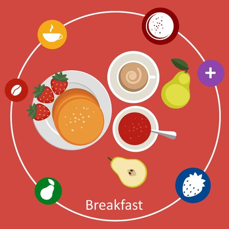 mealtime: Flat design illustration concepts for light breakfast, breakfast time.