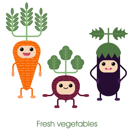 beets: Collection of cartoon Cute smiling vegetables - Carrots, eggplant and beets. Healthy style collection.