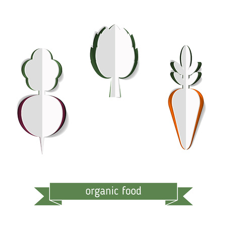 beets: Abstract vector background with paper carrots, beets fnd artichoke. Organic food concept. Illustration