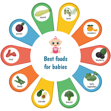 ration: Baby child infographic presentation best foods for babies. Infographic with simple data and ration.