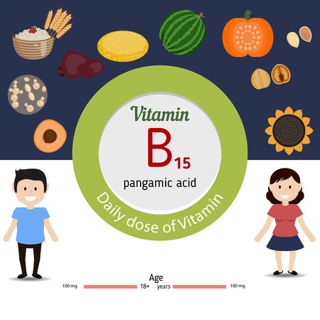 dose: Vitamin B15 and vector set of vitamin B15 rich foods. Healthy lifestyle and diet concept. Pangamic acid. Daily dose of vitamin B15.