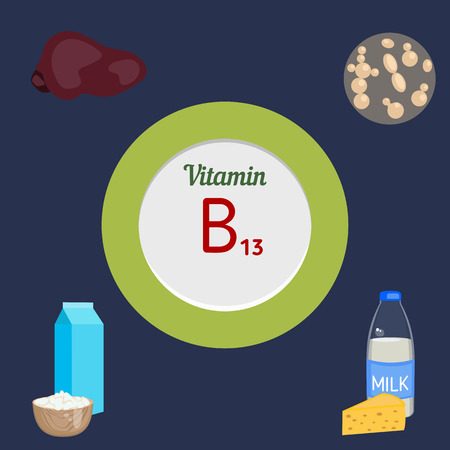 yeast: Vitamin B13 and vector set of vitamin B13 rich foods. Healthy lifestyle and diet concept.