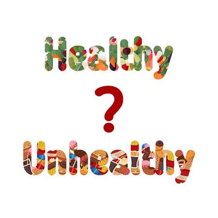 unhealthy lifestyle: Healthy and unhealthy lifestyle concept. Letters with icons of healthy foods and unhealthy foods.