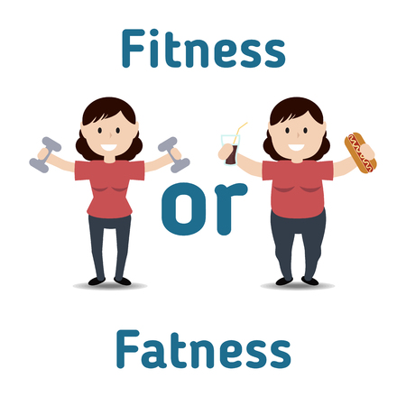 fatness: Healthy and unhealthy lifestyle concept. Fat and thin woman. Fitness or fatness. Illustration