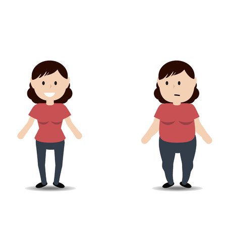 thin woman: Healthy and unhealthy lifestyle concept. Fat and thin woman. Stages weight loss before and after.