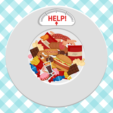 eating habits: Unhealthy Foods concept. Plate with icons of unhealthy foods and indicator.