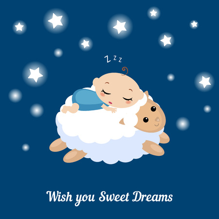 baby lamb: Vector illustration of a baby sleeping on the lamb. I wish you sweet dreams. Illustration