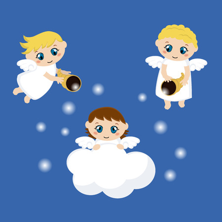 snore: Little angels with stars and cloud. Cartoon vector illustration.