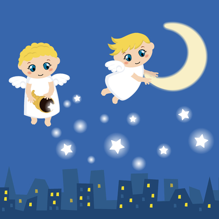 moon angels: Little angels with stars and moon. Cartoon vector illustration.