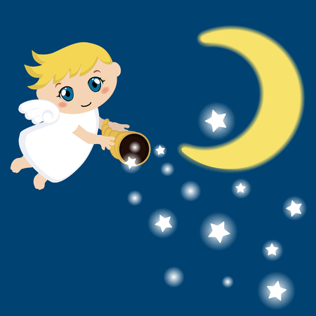 snore: Little angel with stars and cloud. Cartoon vector illustration.