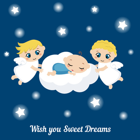 snore: Cute angels with stars and baby sleeping on the cloud. I wish you sweet dreams. Illustration