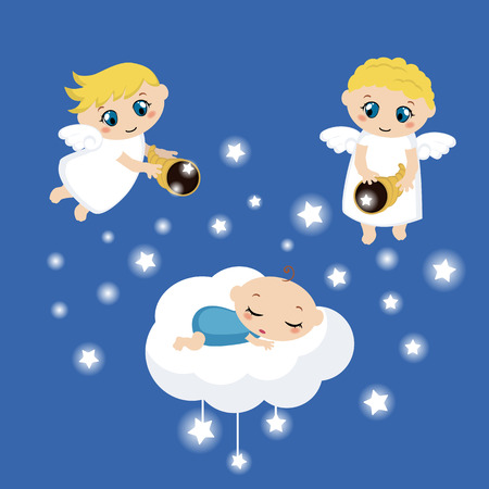 dark clouds: Cute angels with stars and baby sleeping on the cloud Illustration