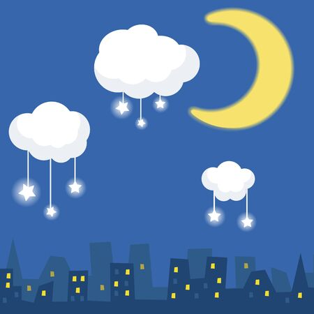 tranquil scene on urban scene: Cartoon illustration of silhouette houses under a starry sky. Sky, moon and stars.
