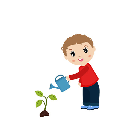 watering plant: Happy boy watering plant from a watering can. Illustration