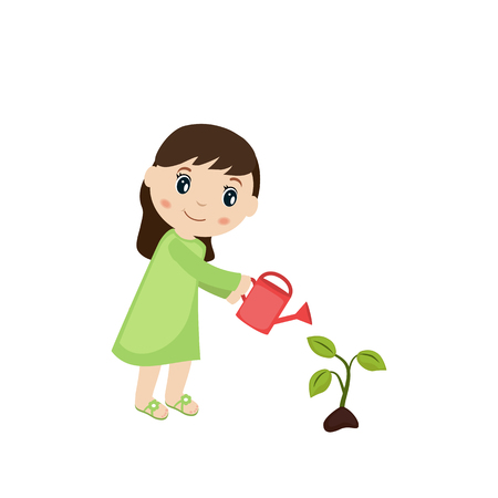 watering plant: Happy woman watering plant from a watering can.