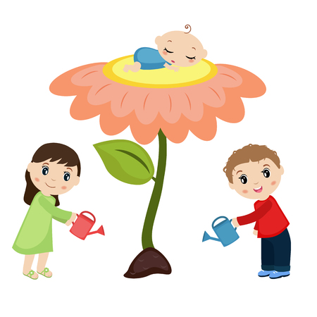 water birth: Baby sleeping on the flower. Man and woman watering flower. Happy family concept.
