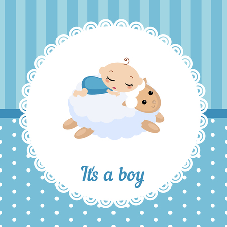 baby lamb: Cute baby boy card. Vector illustration of a baby sleeping on the lamb.