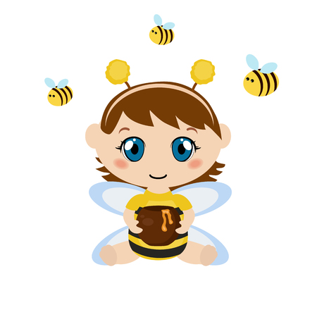 honey pot: Baby dressed as bee. Child holding a honey pot. Background with bee.