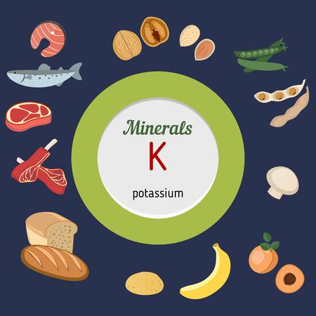 Mineralien K und Vektor-Satz von Mineralien K-reiche Lebensmittel. Gesunde Lebensweise und Ernährung Konzept. Kalium. Vektorgrafik