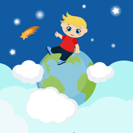 Vector illustration of boy sitting on blue planet. Background with clouds.