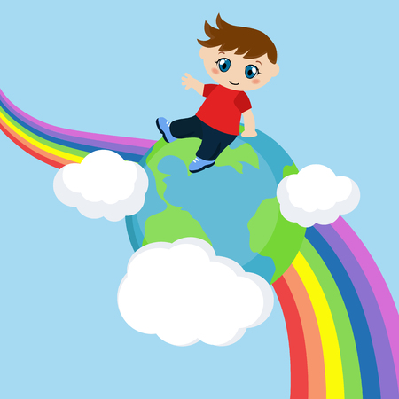Vector illustration of boy sitting on blue planet. Background with clouds and rainbow. Illustration