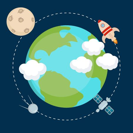 astronomic: Space theme banners and cards with flat astronomic symbols of planets, rocket, moon, satellite for design, invitations and advertisement