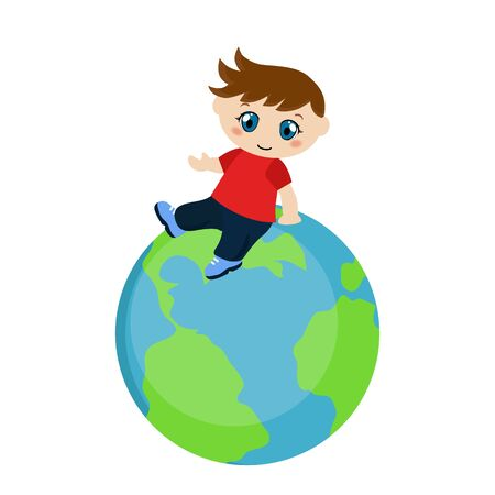 Vector illustration of boy sitting on blue planet. White background.