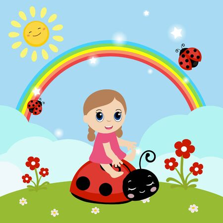 little girl sitting: Little girl sitting on a ladybug. Background with clouds and rainbow.