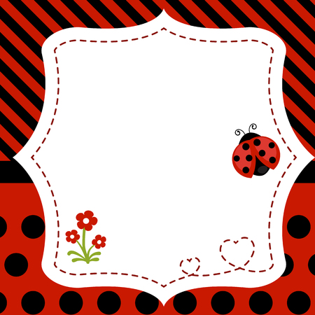 Greeting card with ladybug. Background with flower and ladybug. 矢量图像