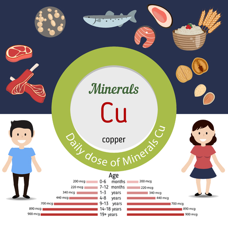 minerals: Minerals Cu and vector set of minerals Cu rich foods. Healthy lifestyle and diet concept. Daily dose of minerals of copper. Illustration