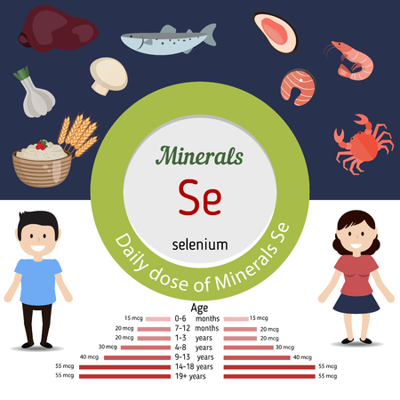 selenium: Minerals Se and vector set of minerals Se rich foods. Healthy lifestyle and diet concept. Daily dose of minerals of selenium.