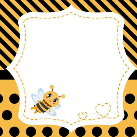 Greeting card with honey bee. Background with stripes and polka dots. Illustration