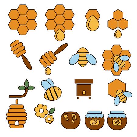beekeeping: Vector illustration of honey and beekeeping icons