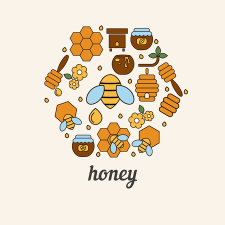 beekeeping: Vector illustration of honey and beekeeping icons. Honey farm objects. Eco sweet organic fresh healthy products.