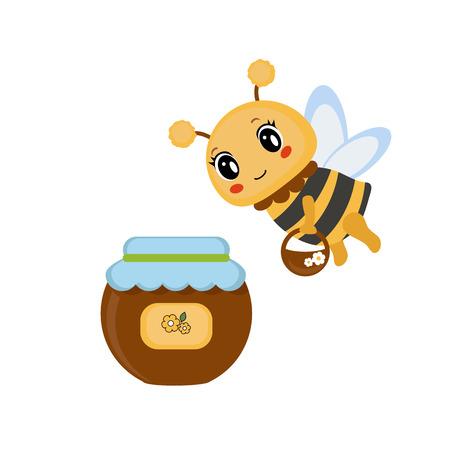 comic wasp: Cartoon bee bring a bucket of honey