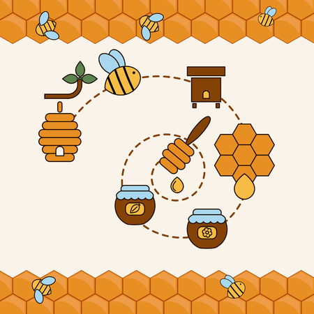 honeyed: Beekeeping product concept. Beekeeping and bee vector symbols.