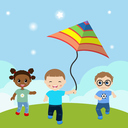 young schoolchild: Vector illustrations of running children with flying kite.