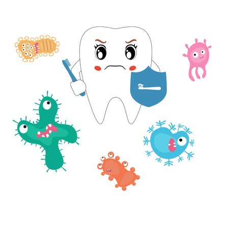 dirty teeth: Dental cartoon vector, compare healthy and unhealthy teeth. Concept of healthy teeth.
