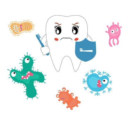 dientes sucios: vector de la historieta dental, comparar los dientes saludables y no saludables. Concepto de dientes sanos.