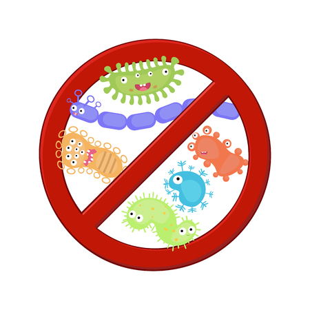 kill: Antibacterial sign with a set of cartoon bacteria. Bacteria kill symbol.