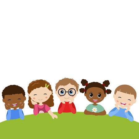 lying in: Vector illustrations of children lying on grass in park Illustration