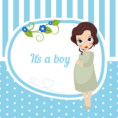 Cute baby girl card with pregnant woman. Blue background with stripes and polka dots. It is a boy.