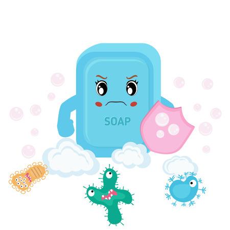 run away: Vector illustration of soap and bacteria run away