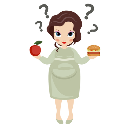 eating food: Pregnant woman with an apple in one hand and hamburger in another. Healthy lifestyle.