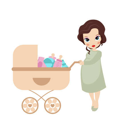shopping carriage: Vector illustration of pregnant woman with vintage baby carriage on white background. Woman does the shopping.