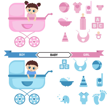 infantile: In a pink stroller sit the baby girl. In a blue stroller sit the baby boy. Newborn baby icons set.
